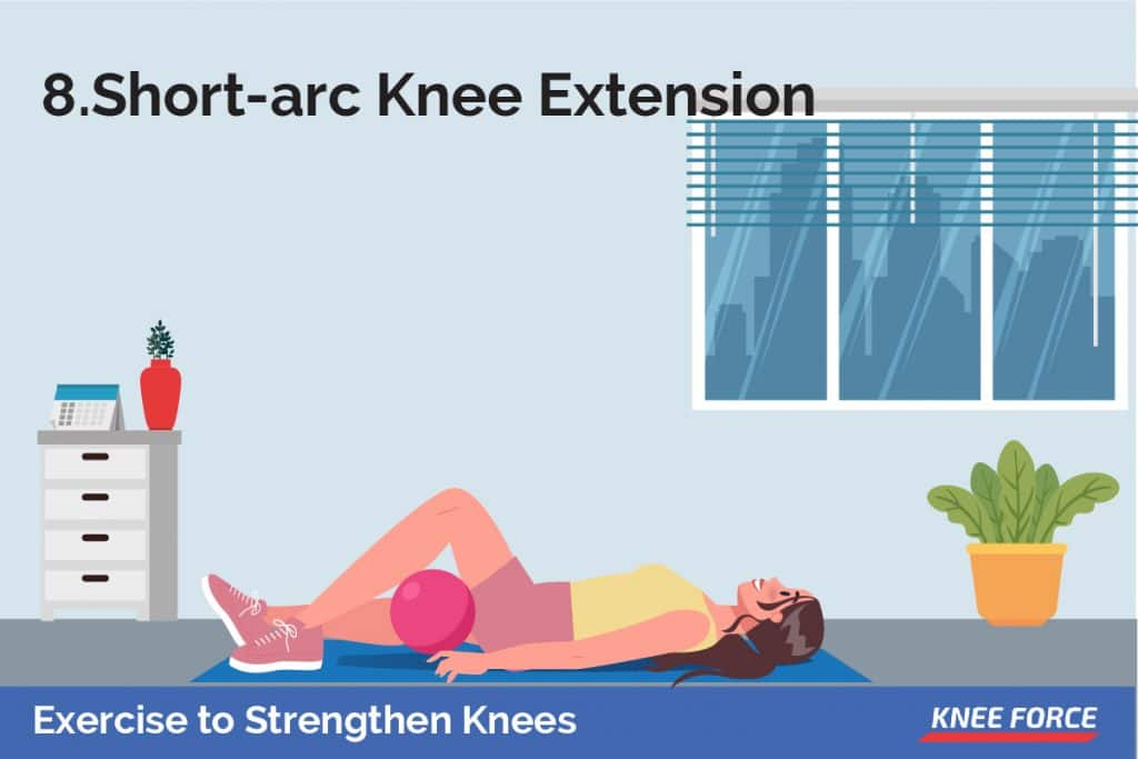 Starting with your back against the wall, left leg straight and right leg bent with your foot flat on the floor, put a ball under your left knee so that your leg is bent.