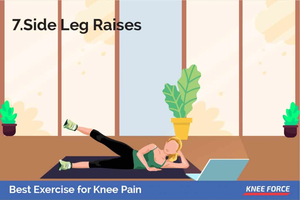 Lay on your side with your legs stacked on top of each other. Bend the bottom leg for support. Straighten your top leg and raise it to 45 degrees.