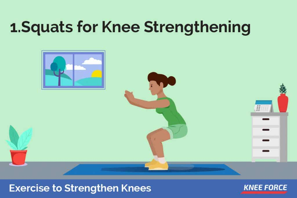 Start by standing with your feet shoulder-width apart and firmly planted to the ground. Slowly bend at the knees, as if you are sitting back on a chair.