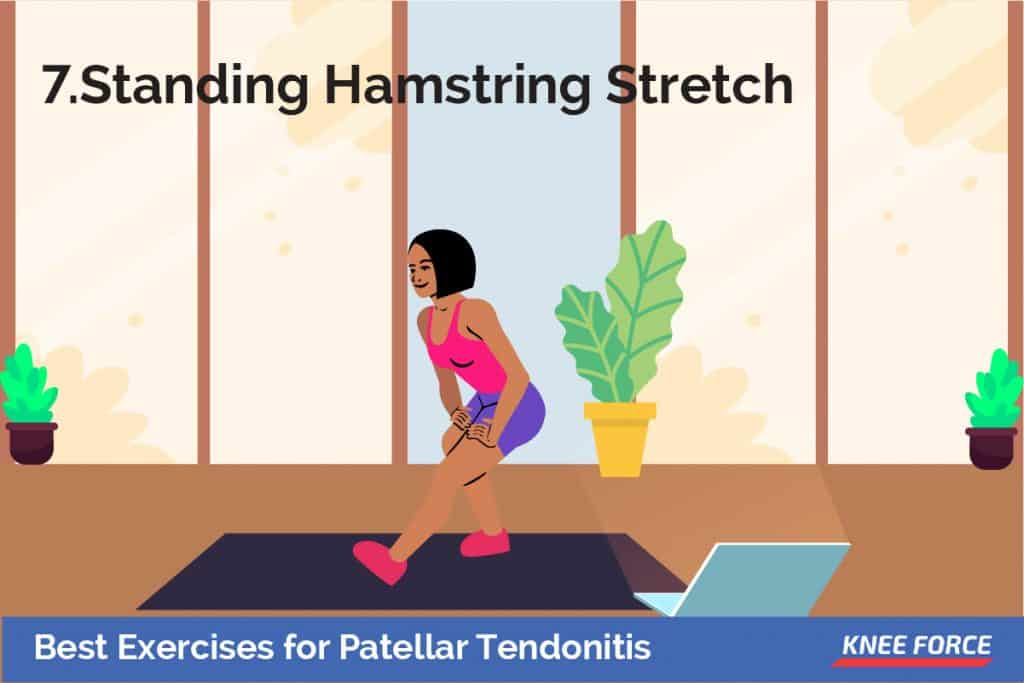 Put the heel of the leg on your injured side on a stool about 15 inches high. Keep your leg straight. girl doing the standing hamstring stretch