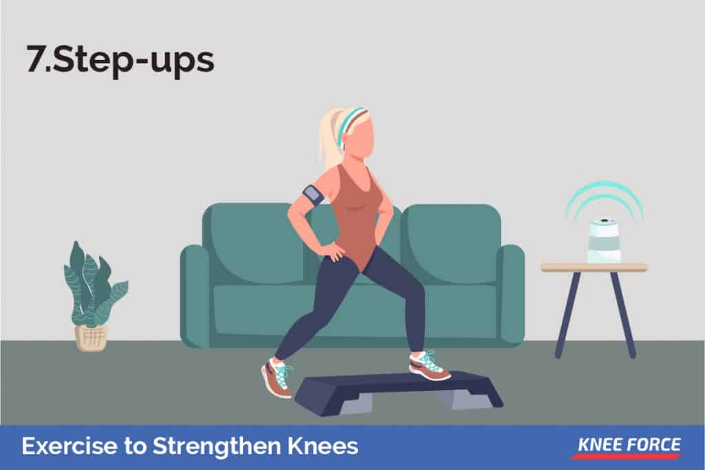Using a step bench, or a staircase, step up with your right foot. Tap your left foot on top of the step, then lower it back down.