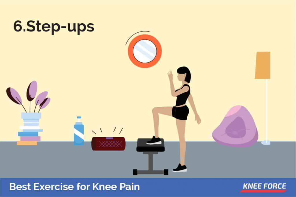 With one foot on a step bench, this can also be a platform, or the lowest step on a staircase. Keep your pelvis level and bend your knee, slwoly lowering the opposite foot to the floor.