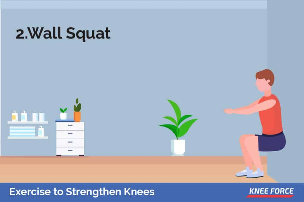 Your body should be in the squatting position with your back against the wall. Raise the body by straightening your legs and slide your body up the wall.