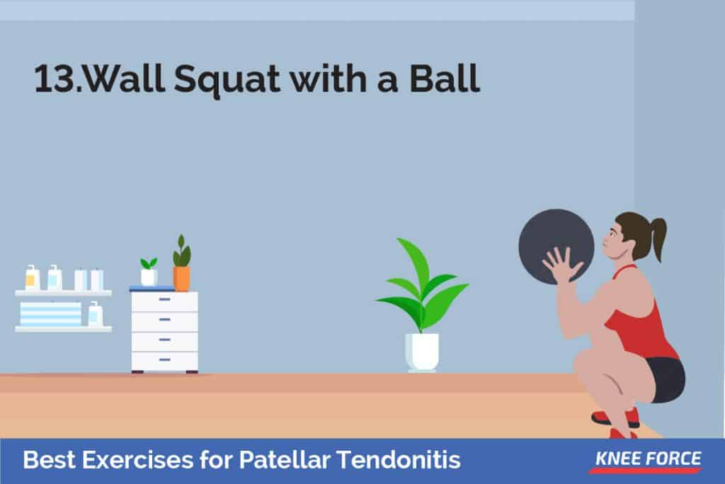 Stand with your back, shoulders, and head against a wall. Look straight ahead. Keep your shoulders relaxed, girl making wall squat with a ball exercise for patellar tendonitis
