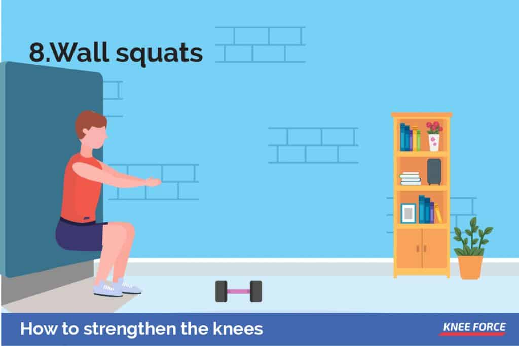As with regular squats, wall squats work the posterior muscles, while also building knee strength