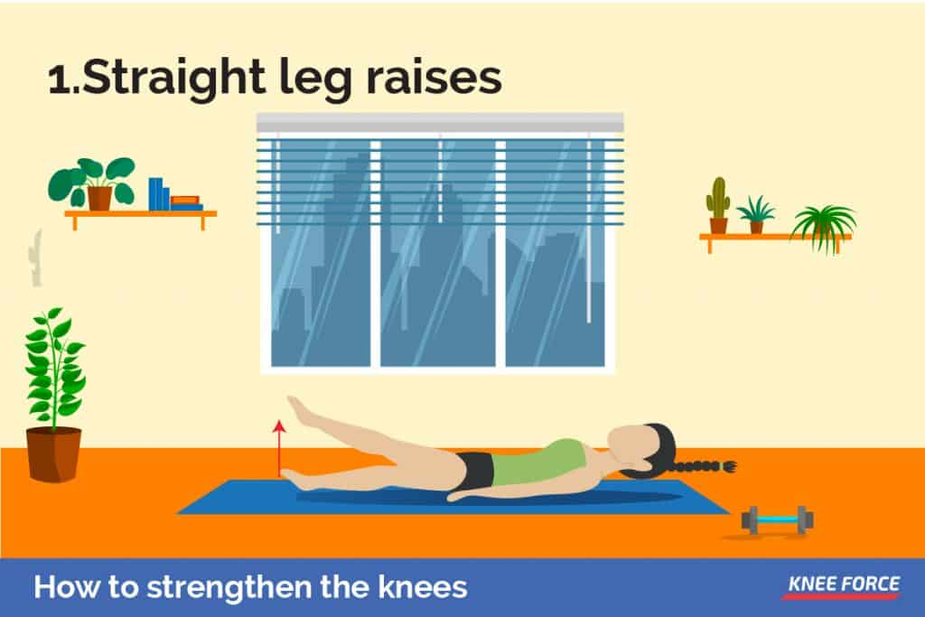 To work your front quadriceps without bending your knees, straight leg raises are ideal
