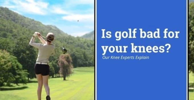 Can playing golf be bad on your knee. Young women playing golf focusing on her knee and golf swing.